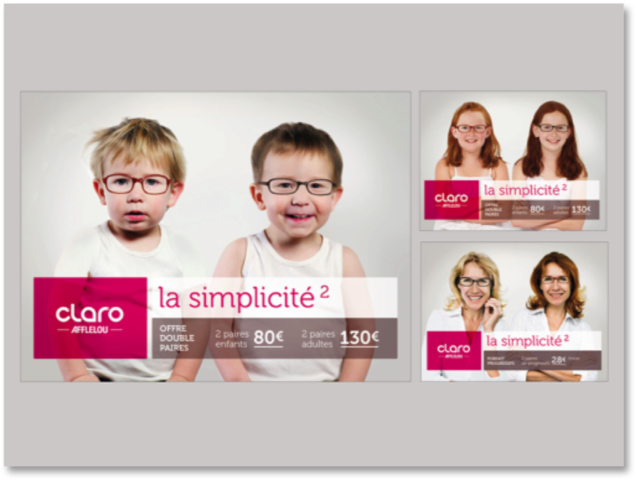 CLARO AFFLELOU / Offre double paires Affichage Agence W