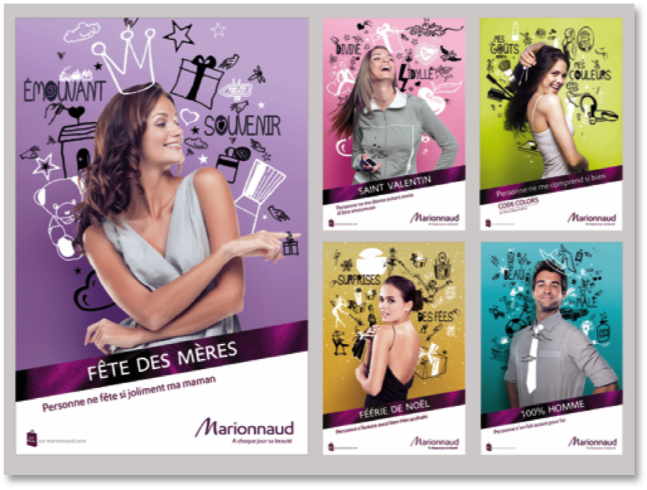 MARIONNAUD / Refonte des temps forts Affiches vitrine (Axe 2)  Agence PROXIMITY BBDO